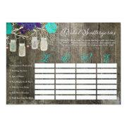 Rustic Bridal Shower Scattergories Love Game