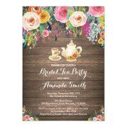 Rustic Bridal Shower Tea Party Invitations Floral