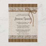 Rustic Burlap And Lace Bridal Shower Invitation