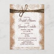 Rustic Burlap Bridal Shower Invitation Postinvitations