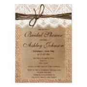 Rustic Burlap Lace Bridal Shower Invitations Custom Invites