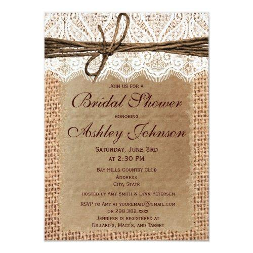 Rustic Burlap Lace Bridal Shower