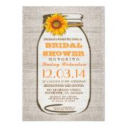 Sunflower bridal shower invitations funbridalshowerinvitations rustic burlap mason jar sunflower bridal shower cards filmwisefo