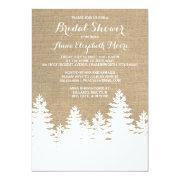 Rustic Burlap Pine Trees Winter Bridal Shower