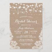 Rustic Burlap String Lights Lace Bridal Shower Invitation