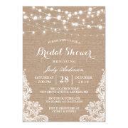 Rustic Burlap String Lights Lace Bridal Shower