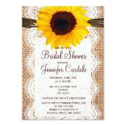 Rustic Burlap Sunflower Bridal Shower Invitations