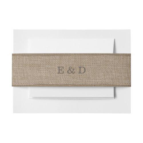 Rustic Burlap Texture Invitation Belly Band