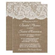 Rustic Burlap & Vintage White Lace Bridal Shower Invitation