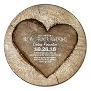 Rustic Carved Tree Wood Heart Bridal Shower