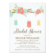 Rustic Coral Mint Mason Jar Branch Bridal Shower