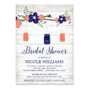 Rustic Coral Navy Mason Jar Branch Bridal Shower