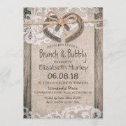 Rustic Country Horseshoe Burlap Lace Bridal Shower Invitation