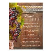 Rustic Country Wine Themed Bridal Shower Invite