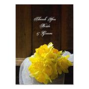 Rustic Daffodils And Barn Wood Wedding Thank You