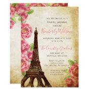 Rustic Eiffel Tower Paris French Bridal Shower Invitation