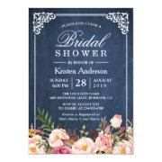 Rustic Floral Blue Chalkboard Classy Bridal Shower Invitations