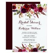 Rustic Floral Burgundy Marsala Fall Bridal Shower