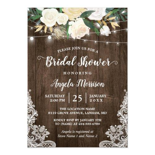 Rustic Floral Lace String Lights Bridal Shower Invitations