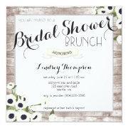 Rustic Flowers Bridal Shower Brunch Invitation