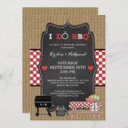 Rustic I Do Bbq Couples Wedding Shower Invitation