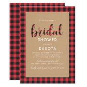 Rustic Kraft & Buffalo Plaid Script Bridal Shower Invitations
