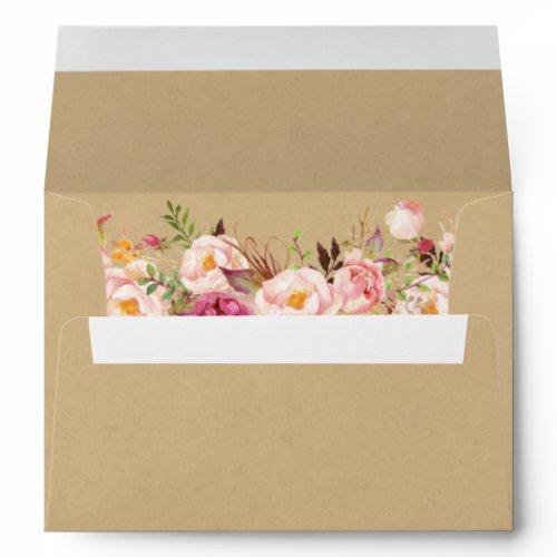 Rustic Kraft Vintage Pink Floral Wedding Envelope