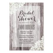 Rustic Laced Barn Wood Bridal Shower Announcement