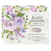 Rustic Lavender Floral Bridal Shower Invitations