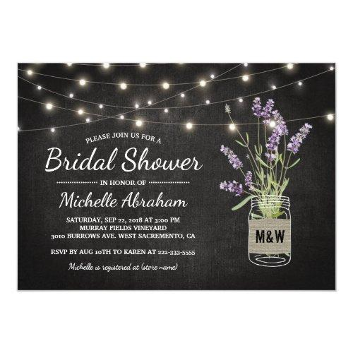 Rustic Lavender Mason Jar Lights Bridal Shower Invitations