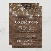 Rustic Mason Jar And String Lights Couple's Shower Invitation