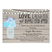 Rustic Mason Jar Blue Bridal Shower Invitation