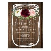 Rustic Mason Jar Fall In Love Bridal Shower Invite