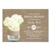 Rustic Mason Jar & Hydrangea Burlap Bridal Brunch Invitation