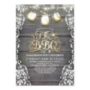 Rustic Mason Jar Lights Wood And Lace I Do Bbq Invitation