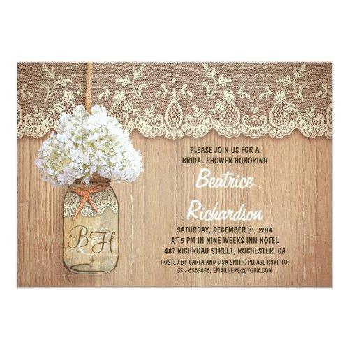 Rustic Mason Jar White Hydrangea Bridal Shower Invitations