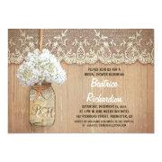 rustic mason jar white hydrangea bridal shower invite