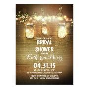Rustic Mason Jars And Lights Bridal Shower