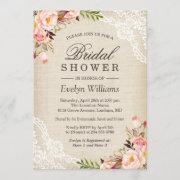 Rustic Pink Floral Ivory Burlap Lace Bridal Shower Invitation