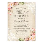 1e9f46ee5b1 Rustic Pink Floral Ivory Burlap Lace Bridal Shower Invitation