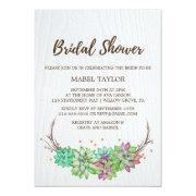 Rustic Pink & Mint Floral Succulent Bridal Shower Invitations
