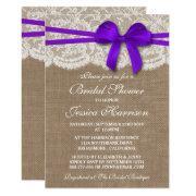 Rustic Purple Bow, Burlap & Lace Bridal Shower