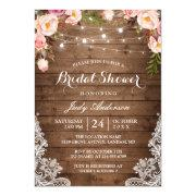 de0a8185f26 Rustic String Lights Lace Floral Bridal Shower Invitations