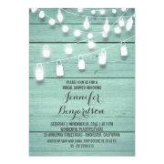 Rustic String Lights Teal Bridal Shower Invitation
