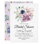 Rustic Succulent Floral Bloom Bridal Shower Invitations