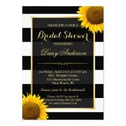 Rustic Sunflower Black White Stripes Bridal Shower Invitation