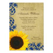 Rustic Sunflower Blue Swirls Bridal Shower Announcement