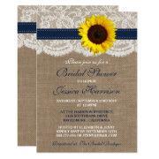 Rustic Sunflower, Burlap & Lace Bridal Shower Invitation