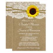 Rustic Sunflower Kraft Lace & Twine Bridal Shower Invitations