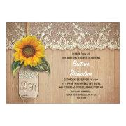 rustic sunflower mason jar bridal shower custom announcement
